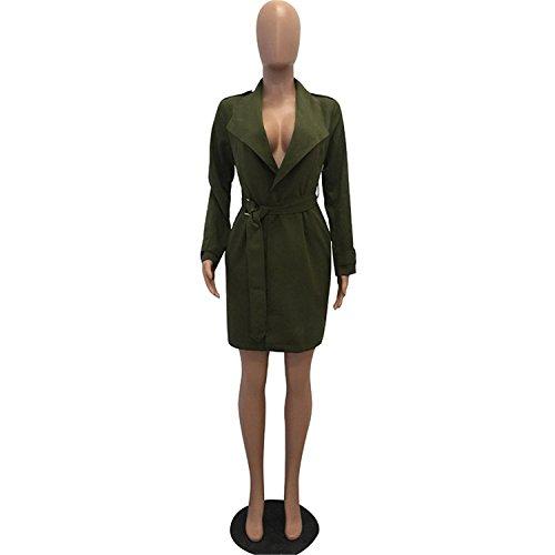 Ivan Johns Warm Winter Cotton Long Coat Women Fashion Turn-down Collar Belt Trench Coat for Women Outwear Warm Women Coats Women Army Green XL