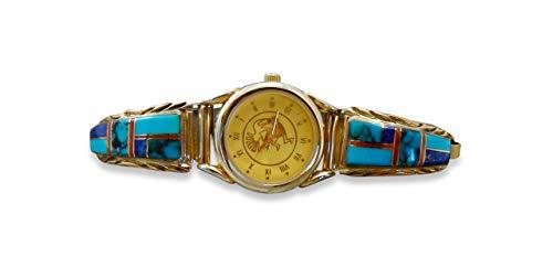 Firebird Jewelers 12KGF Silver Navajo Lapis Multi Inlay Women's Watch Tips