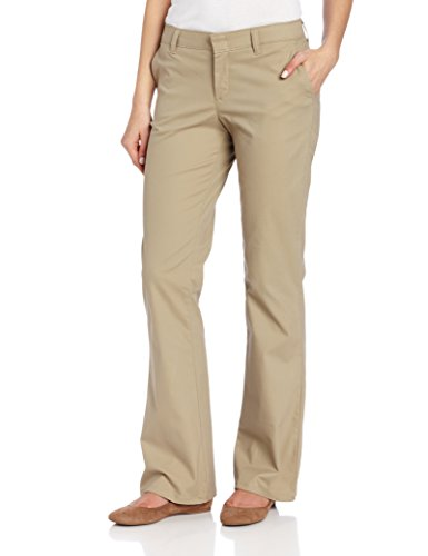 Dickies Women's Flat Front Stretch Twill Pant Slim Fit Bootcut, Desert Sand, 16 Regular