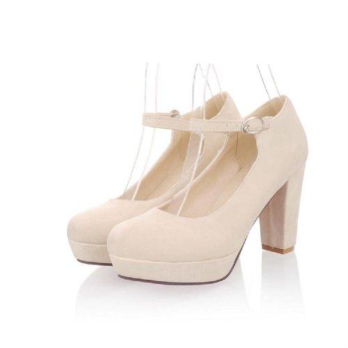 Charm Foot Fashion Womens Platform Pump Chunky Heels High Heel Beige 69FQbb8SP