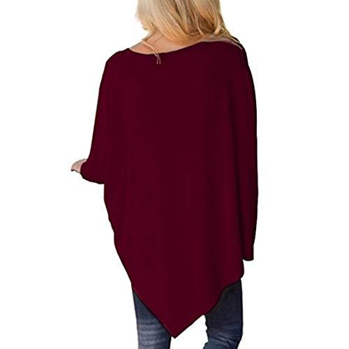 BaZhaHei Camicetta Batwing Top Color Pure Donna Donna Lunga Top O Vino Manica Rosso Irregolare Neck Orlo Manica RwpfBqR