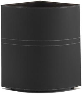 Simon: Panier à Linge en Cuir, Couleur Noir, avec Sac Lavable Amovible, Sac de Rangement, Économie d'espace pour l'angle, Made in Italy by Limac Design®.
