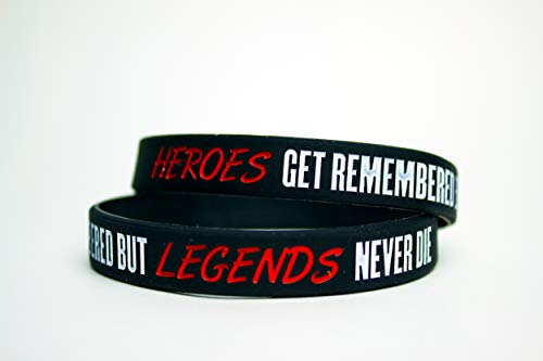 Genuine Supplies (2 Pack) Heroes GET Remembered BUT Legends Never DIE(Motivational Wristbands) (Heroes Get Remembered But Legends Never Die)