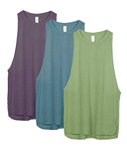 icyzone Workout Tank Tops for Women - Running Muscle Tank Sport Exercise Gym Yoga Tops Running Muscle Tanks(Pack of 3) (XL, Sweet Pea/Lake Blue/Plum Purple)