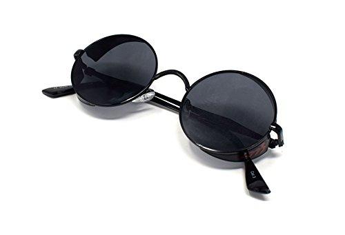gafas redondas Cyber Ultra cobre Negro ciegos UV400 Steampunk Con té maravillosamente Negro Protección con sol gafas Marco rave de gafas 50 vintage elaborados de gótico ppTzq6w5