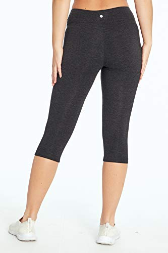Bally Total Fitness Mid Rise Tummy Control Capri Legging, Heather Charcoal, Small