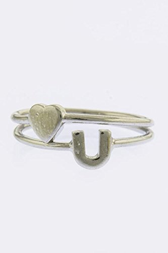 [TRENDY FASHION JEWELRY HORSESHOE AND HEART SIGN TIP DOUBLE RING BY FASHION DESTINATION | (Silver)] (Horse Costume Class)