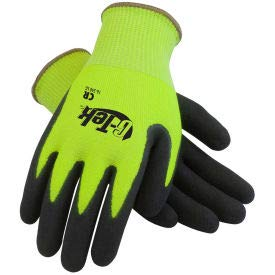 PIP G-Tek CR Hi-Vis Lime Green Nitrile Grip Gloves W/HPPE/Glass Liner, Black Palm, S, 1 DZ (16-340LG/S)