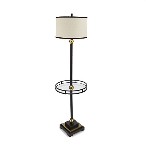 Metal Floor Round Lamp (Silverwood CPLF1453-B The Monroe Floor Lamp with Shade and Glass Tray, 60