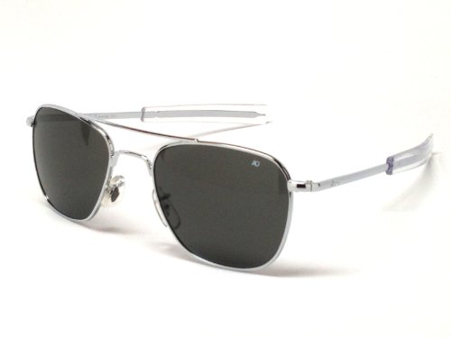 American Optical Pilot Aviator Sunglasses 55 mm Shiny Silver made in New England