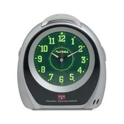 Lorell 60999 Atomic Alarm Clock, 5-1/2-Inch x2-3/4-Inch x5-3/4-Inch, GN Dial/Black/SR