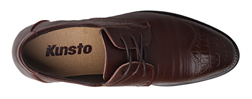Kunsto Men's Leather Oxfords Brogue Shoes Lace Up Brown Size 12