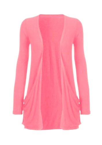Hot Hanger Ladies Plus Size Pocket Long Sleeve Cardigan 16-26 : Color – Coral : Size – 16-18 LXL