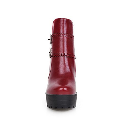 Leather European Red Wheeled Boots Platform Heel Style Imitated Ladies Shoes AdeeSu a5PqUgwx