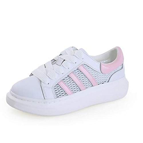 ZHZNVX Zapatos de Mujer Nappa Leather Spring/Summer Comfort Sneakers Flat Heel Cerrado con Punta Red/Blue / Pink Pink