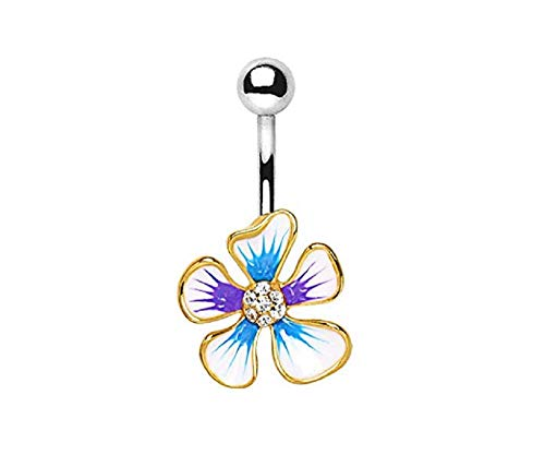 Freedom Fashion Gold Plated 316L Surgical Steel Jeweled Hibiscus Flower Navel Ring (Sold by Piece)