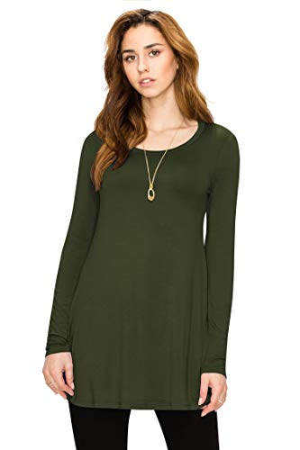 (WT767 Womens Long Sleeve Scoop Neck Trapeze Tunic XL OLIVE)