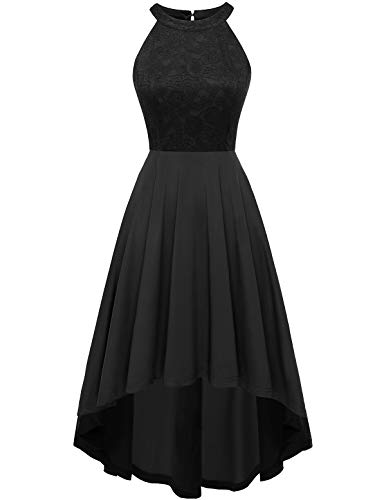 (YOYAKER Women's Halter Lace Cocktail Party Swing Dress High Low Bridesmaid Prom Dresses Black S)