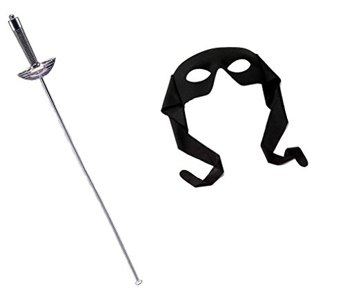 Mask Sword Zorro (Silver Fencing Sword Black Bandit Zorro Eye Mask Costume Accessory Musketeer Kit)