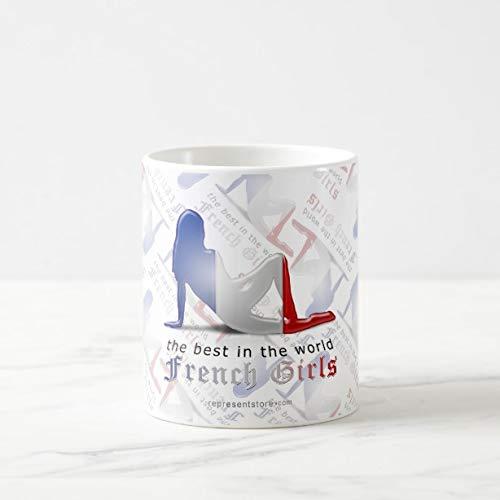 Funny French Girl Silhouette Flag Coffee Mug 11oz Funny Gift ()