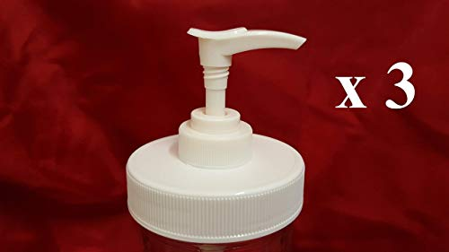 3 White Matte Plastic Lids with Liner & Pump - Regular/Standard Mason Jar Lotion/Soap dispenser Lid