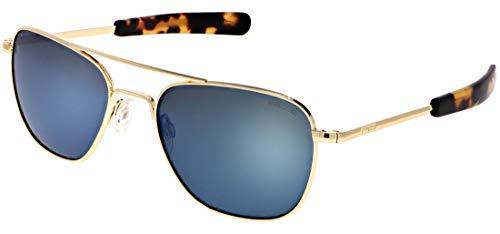 Randolph Aviator Sunglasses 23K Gold E.P. / Bayonet/Skytec-P Cobalt ()