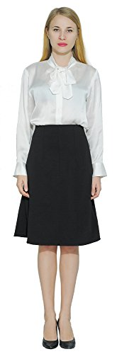 Marycrafts Women's Work Office Business Knee Flared A Line Midi Skirt L Black by Marycrafts