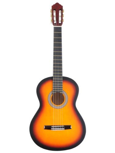 ADM-39-Inch-Student-Beginner-Guitar-Sunburst-Matte-Nylon-String-Classical-Guitar-Package-with-Maple-Guitar-Neck-Rosewood-Bridge-Rosewood-Tailpiece-with-Accessories-Set-Gig-Bag-Strap-Strings-Pitch-Pipe