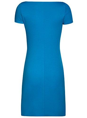 oodji Ultra Mujer Vestido de Punto con Escote Barco Azul (7501N)