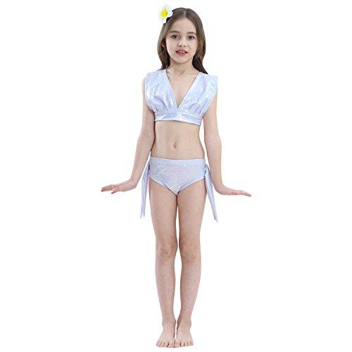WEIMEITE 3 PCS/Set Belle Sirène Maillot de Bain Swimable Sirène Queue pour Filles Enfants Natation Sirène Queues Cosplay Costume