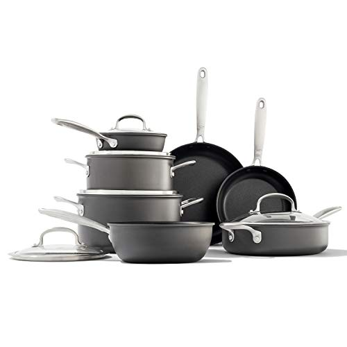 OXO Good Grips Pro Nonstick Dishwasher Safe Black Cookware Pots and Pans Set, 12 Piece