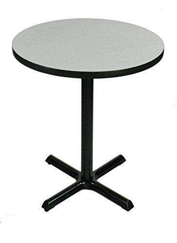Correll BXB36R-15 Gray Granite Top and Black Base Round Standing and Barstool (Gray Top Black Base)