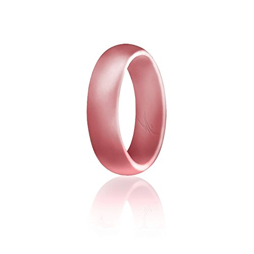(ROQ Silicone Wedding Ring for Women, Affordable Silicone Rubber Band, Metal Pink- Size 10)