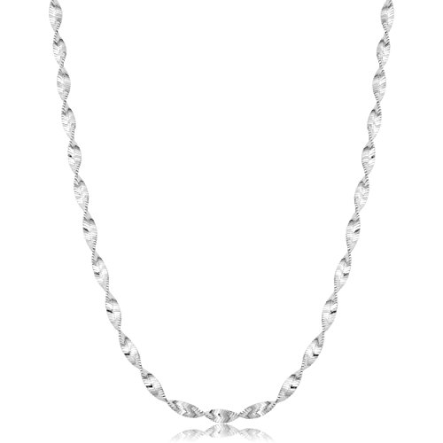 Kooljewelry Sterling Silver Twisted Herringbone Chain Necklace (3mm, 16 inch)