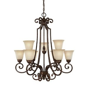 Capital Lighting 3589CB-287 Chandelier with Mist Scavo Glass Shades, Chesterfield Brown Finish