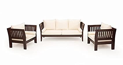 Woodkartindia Sheesham Wood Sofa Set With Cushion 5 Seater, 3+1+1  Configuration