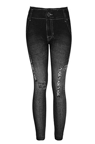 Crush Girls High Waist Printed Distressed Denim Jeggings Leggings Black 4 6