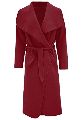 Con S Francese Cintura Giacca Wine Italiano Duster Fashions Coat Trench Waterfall 2xl Donna Womens Islander Lunga xqvw8zHn