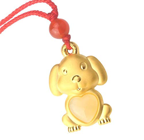 Onlyfo 24K Gold Plated Imitation Gold Jade Heart Dog with Chinese Character Pendant Necklace with Jewelry Box,Dog Necklace for Women (Golden)