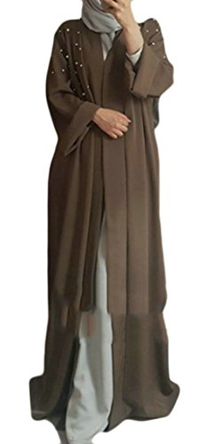 Abaya Casual Plus Kaki Size Donne Musulmano Abito Perle Delle Aperta Cromoncent Abbigliamento Oscillare UwZqIq