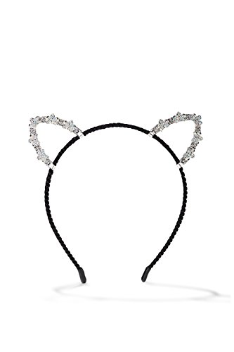 Nothing But Love Glitter Cat Ears Headband With Crystals Rhinestone Hairband Glamorous accessories (Black, Silver, Crowns)