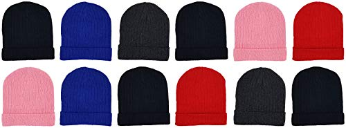 12 Pack Winter Beanies, Kids, Warm Cold Weather Hats Cuffed Cap Boys Girls Children