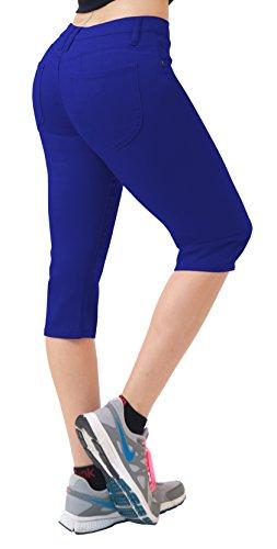 Women's Butt Lift Super Comfy Stretch Denim Capri Jeans Q43308 Royal 11