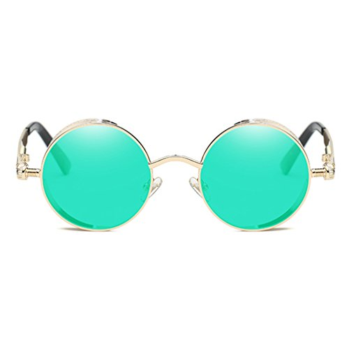 Armear Gothic Steampunk Tinted Reflective Sunglasses for Women Men Round Mirrored Metal Frame (Green, - Festival Sunglasses