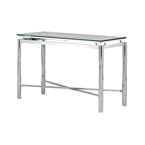 Nova Sofa Table w Beveled Tempered Glass Top in Chrome