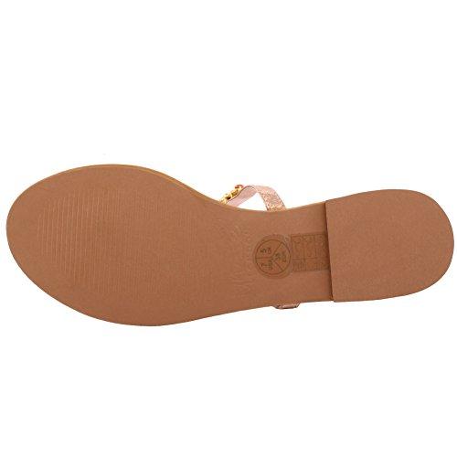 Unze La nueva gema de la T-Barra de las mujeres RAYAN adornó el resbalón ocasional del verano de la fiesta de noche en el tamaño plano 3-8 del tamaño del deslizador plano de la correa del dedo del pie Bronce