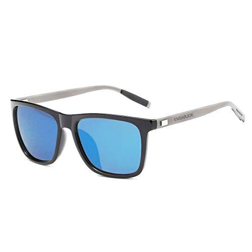 ENSARJOE Polarized Sunglasses Vintage Classic Driver Aluminum Square Sun Glasses for Men Women UV400 Eyeglasses (Black Frame/Blue Polarized Lens)