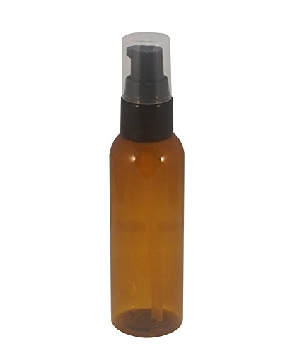 [(Pack of 6) - 2 oz Travel Refillable, Reusable, Empty Plastic Bottles w/ Black Petite Treatment Pump Top. For Travel, Lotion, Moisturizer, Aromatherapy & More (Amber)] (Amber Moisturizer)