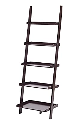 "Espresso Finish 5 Tier Bookcase Shelf Ladder Leaning - 72"" Height"