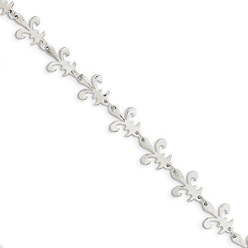 Sterling Silver Jewelry Fashion Bracelets Solid Polished Fleur De Lis Bracelet